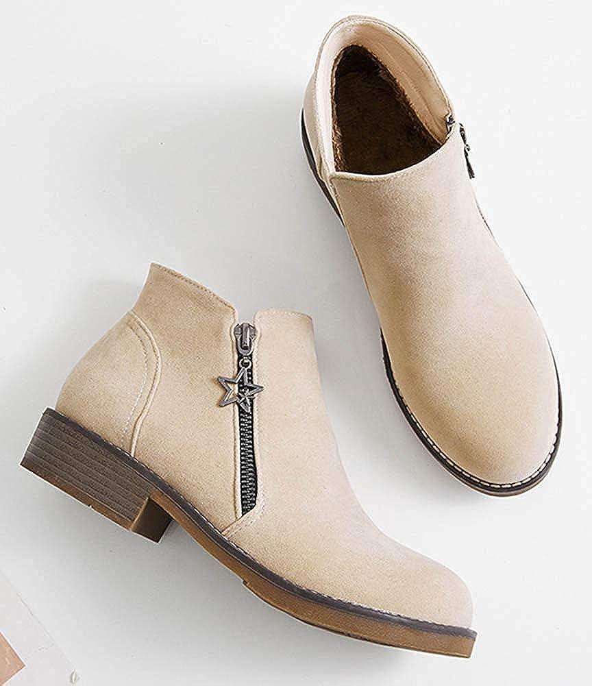 Unm Womens Comfort Zip Up Round Toe Low Stacked Heel Ankle Booties with Zipper Beige