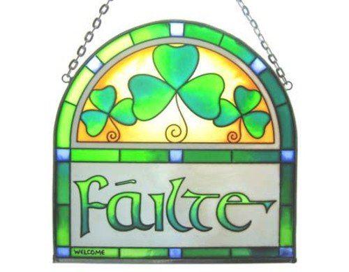 Irish Suncatcher - Failte stained glass arch window hanging. Irish gift designed in Galway (Stained Glass Shamrock Suncatcher)
