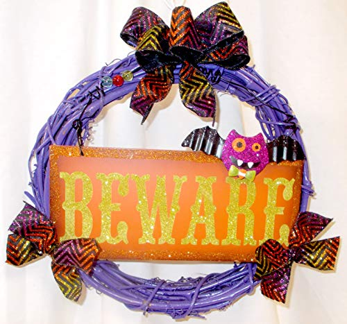 Bday Parties Halloween Purple Painted Grapevine Wreath Glittered