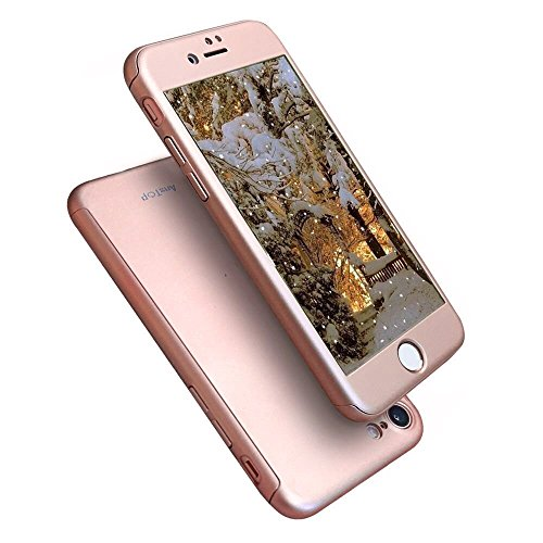 AnsTOP iPhone 8 Case, iPhone 7 Case, 360 Full Body Case Protection Hard Slim Case with 2 Pcs Tempered Glass Screen Protector for iPhone 8, iPhone 7 (Rose Gold)