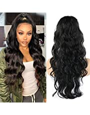 Aisaide Long Body Wave Ponytail Hair Extensions Drawstring 24 inch Wavy Curly Pony Tail Hairpieces Synthetic Fake Hair Wrap Around Ponytail Black Hair piece for Women (Black)