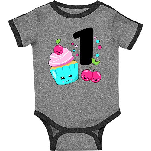 inktastic - Happy Cupcake Infant Creeper Newborn Ringer Heather and Smoke 31a5c