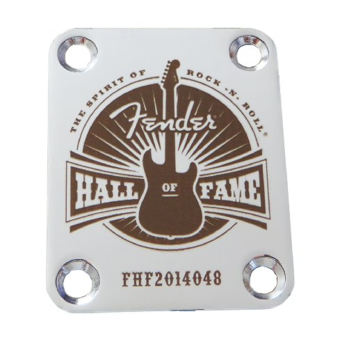 Fender Hall of Fame - Custom Engraved Guitar Neck Plate - Silver