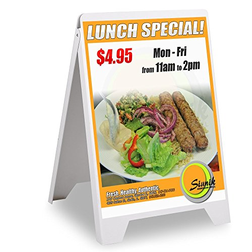 19x32 Inches Graphic Double Side Sidewalk Frame Signboard Sign Stand Sandwich Board PVC Plastic Durable White for Display Restaurants Trade Shows Retail Markets from Generic