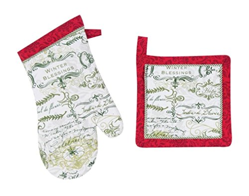 Kay Dee Designs Soho Boutique Holiday Kitchen Print Potholder & Oven Mitt Bundle / Set, Winter Blessings (Multi Print Soho)