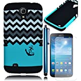 Bastex Heavy Duty Hybrid Teal Love Anchor Chevron Design Case Cover with Black Soft Protective Silicone Shell for Samsung Galaxy Mega 6.3 i527 **INCLUDES SCREEN PROTECTOR AND STYLUS