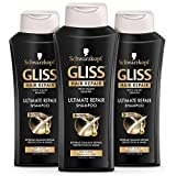 GLISS Hair Repair Shampoo, Ultimate Repair for Heavily Damaged Hair, 13.6 Ounces (Pack of 3)