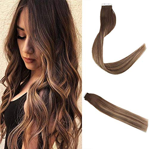 Easyouth 16inch Seamless Glue in Hair Extensions Real Human Hair Skin Weft Color 4 Medium Brown Fading to 27 Honey Blond Highlight with 4 Tape on Hair Extensions 40G per Pack