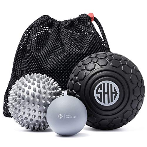 (Sporty Healthy Habit Massage Ball Set: 5 inch Foam Roller + Large Spiky Ball+ Lacrosse Massage Ball. Trigger Point Therapy, Myofascial Release, Muscle Recovery, Foot Massager and Plantar Fasciitis )