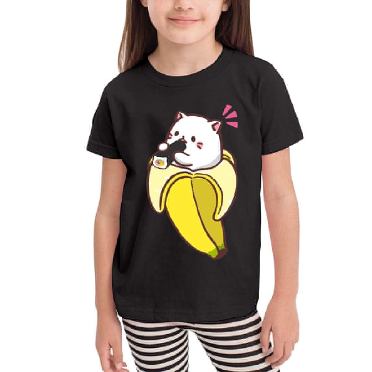 Baby Girls Little Boys Bananya Baby Bananya Banana Cat 2 Soft Short Sleeve T-Shirt Size 2-6