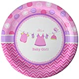 Amscan Delightful Love Girl Baby Shower Round Paper Plates Party Supplies (96 Piece), Pink, 10''