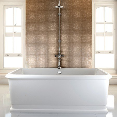 Casa Padrino bathtub freestanding rectangular 1800mm Blon - Freestanding Retro Antique