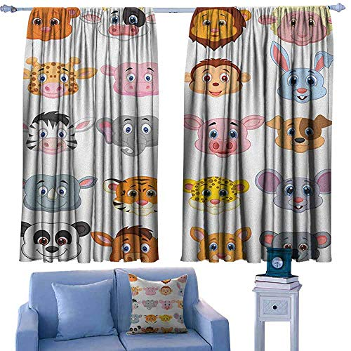 ParadiseDecor Cartoon Drapery Kids Themed Baby Cute Animals Lions Pigs Cows Farm Safari Baby Nursery Room Image,Window Treatment Set for Living Room,W55 x L45 Inch