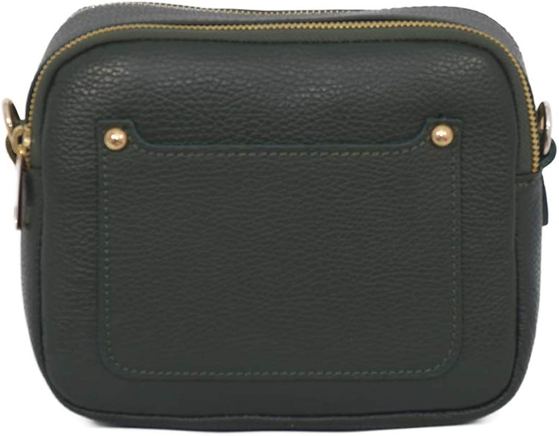 A to Z Leather Bolso de mujer de auténtica piel con bolsillo delantero para tarjetas de viaje y cierre de doble cremallera. Verde