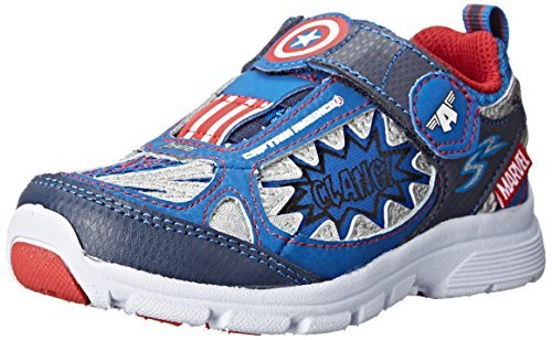 Stride Rite Avengers Captain America Light-up Athletic Shoe (7.5W (Toddlers)) Navy (Basketball America Captain Shoes)