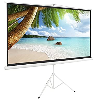 ARKSEN© 100  Tripod Projection Screen Projector Matte Home HD Movie, White, 16:9, 84 x49