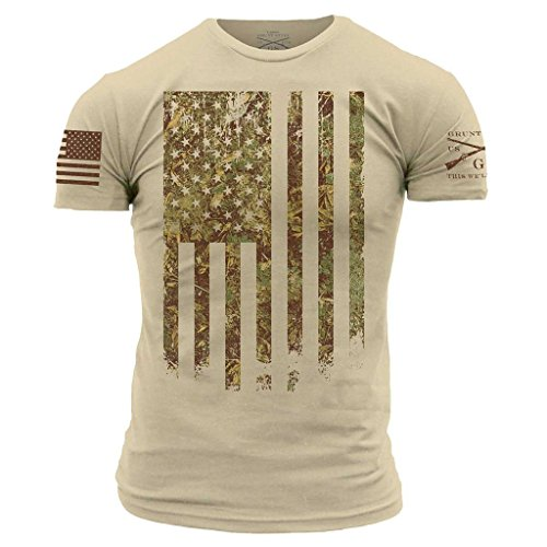 - Grunt Style Outdoors Camo Flag Men's T-Shirt, Color Woodland, Size Large