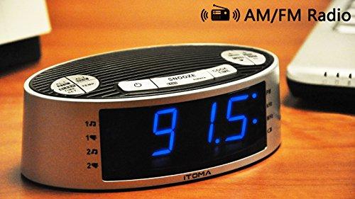 iTOMA Alarm Clock Radio, Digital AM FM, Dual Alarm, Snooze, Dimmer Control, Indoor Temperature Display, Countdown Timer, Backup Battery (CKS3301S)