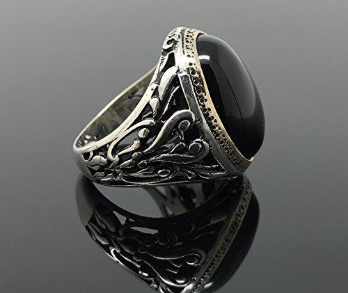 KAR 925K Stamped Sterling Silver Black Onyx Mens Ring I1M