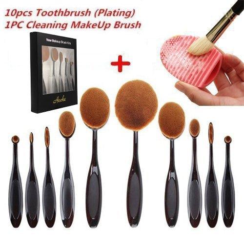 Soft Oval Toothbrush Makeup Brush Sets Foundation Brushes Cream Contour Powder Blush Concealer Brush Makeup...