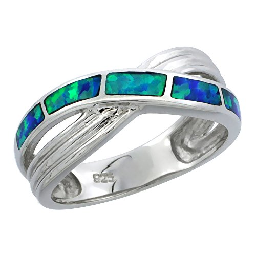 Sterling Silver Blue Synthetic Opal Crossover Ring for Women 5 16 inch