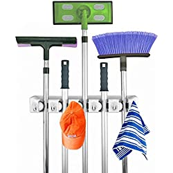 Home Mop and Broom Holder – Hanging Positions Combine with Hooks Storage Holds – Garage Storage for Brooms Organizer - Dragon Flame (5)