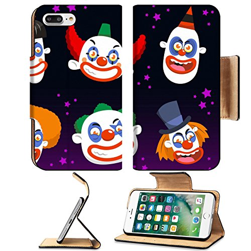 Luxlady Premium Apple iPhone 7 Plus Flip Pu Leather Wallet Case iPhone7 PLUS IMAGE ID: 33788580 Evil clown cartoon halloween spooky (Clown Makeup Styles)