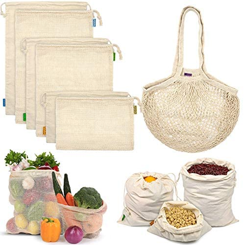 Reusable Produce Bags, Organic Cotton Mesh Bags Muslin Bags with Drawstring Bonus Reusable Grocery Bag for Shopping & Storage, Washable, Biodegradable, Food Safe, Tare Weight on Color Tag(7 Pack)