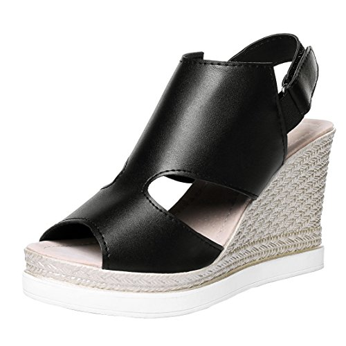 AIYOUMEI Knöchelriemchen Bequem Sommer Schwarz Toe Schuhe Damen Peep Keilabsatz Sandalen mit Plateau rtarHw8xq
