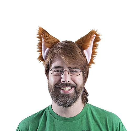 Pawstar canine Ear Headband Furry Puppy Dog Costume Ears - Rust/Pink