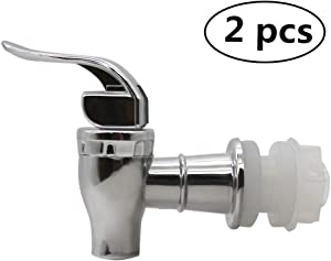 MUGLIO Silver Replacement Spigot for Beverage Dispenser Carafe Push Style Lever Pour Spout(2 Pack)