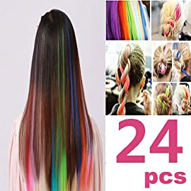 24 PCS Color OPCC Bundle 22 Inches Multi-Colors Party Highlights Colorful Clip In Synthetic Hair Extensions,1PCS Opcc…