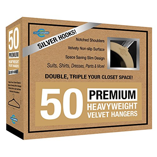 Closet Complete Premium Quality, True-Heavyweight, 80-gram, Virtually-UNBREAKABLE Velvet Hangers, Ultra-Thin, Space Saving, No Slip Hangers, Best for SUIT, Dress, Pants, Shirt, 360° Spin, CHROME Hook