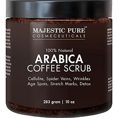 Majestic Pure Arabica Coffee Scrub, Natural Body Scrub for Skin Care, Stretch Marks, Acne & Anti Cellulite Treatment, Reduce the Look of Spider Veins, Eczema, Age Spots & Varicose Veins - 10 Oz