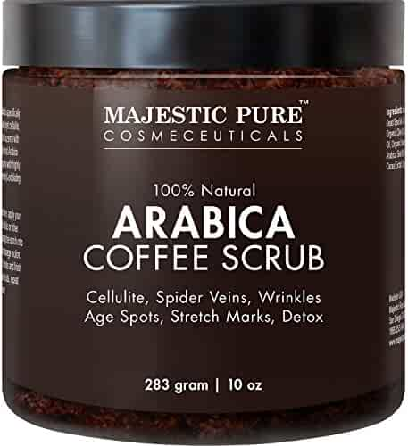 Majestic Pure Arabica Coffee Scrub, Natural Body Scrub for Skin Care, Stretch Marks, Acne & Anti Cellulite Treatment, Reduce the Look of Spider Veins, Eczema, Age Spots & Varicose Veins - 10 Oz