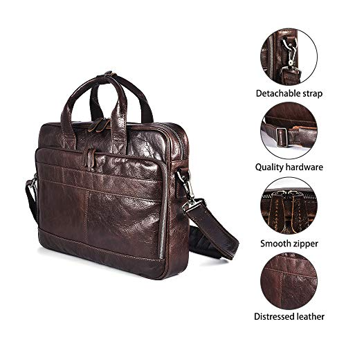 Men's Genuine Leather Messenger Bag Vintage Attache Case Shoulder Crossbody Business Briefcases Fit 14'' Laptop, Coffee by Laura Wales (Image #4)
