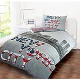 Single Bed Size Children's Kids Teenage Boys Girls Quilt Duvet Cover and Pillow Case Bedding Set (New York City)