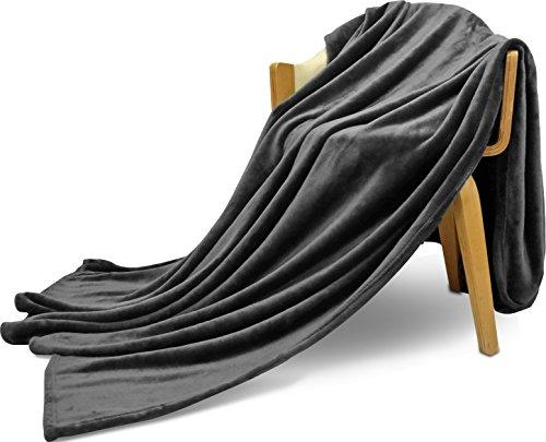 Flannel Fleece Blanket Grey  Lightweight Cozy Couch/Bed Blan