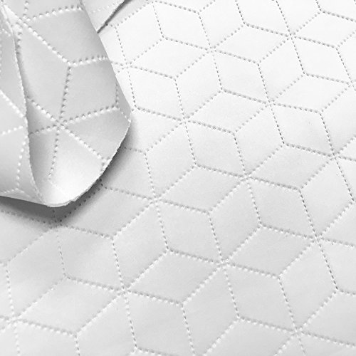 Scuba Knit Fabric Neoprene Embossed Polyester Spandex 58'' Wide BTY (Cubed) (White) ()
