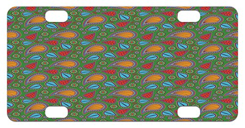 Ethnic Mini License Plate by Ambesonne, Ethnic Image with Swirls Floral Details Paisley Design Fern Green Backdrop, High Gloss Aluminum Novelty Plate, 2.94 L x 5.88 W Inches, Orange Blue and (Fern Swirl)