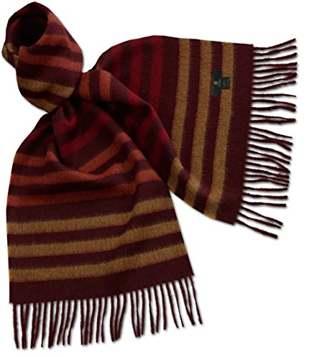Alpaca Striped Scarf (AlpacaFab - 100% Baby Alpaca Scarf - Tumuna - Striped Unisex 71 x 12 Red / Dark)