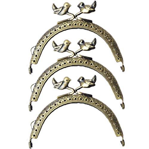 ZLYY 3Pcs 8.5cm /3.3 Inch Purse Bag Bird Kiss Clasp Lock Embossed Metal Arch Frame Retro Bronze Tone