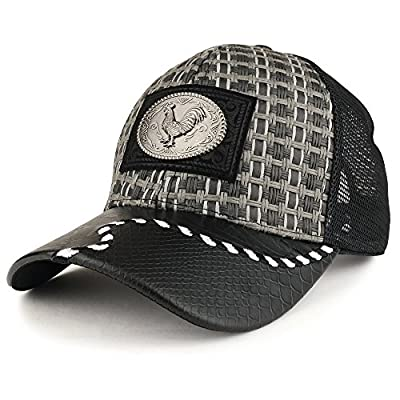 Trendy Apparel Shop Straw Design Metallic Rooster Logo Trucker Mesh Adjustable Baseball Cap