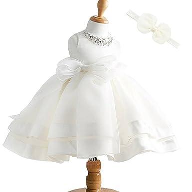 2684348c7db ZAH Baby Girl Dress Christening Baptism Gowns Sequined Formal Dress (White