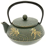 Iwachu Japanese Iron Tetsubin Teapot with ''Bronze'' Goldfish, Gold/Patina Green