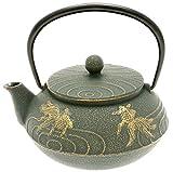 Iwachu Japanese Iron Tetsubin Teapot with ''Bronze'' Goldfish, Gold/Patina Green