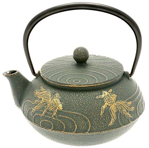 "Iwachu Japanese Iron Tetsubin Teapot with ""Bronze"" Goldfish, Gold/Patina Green"