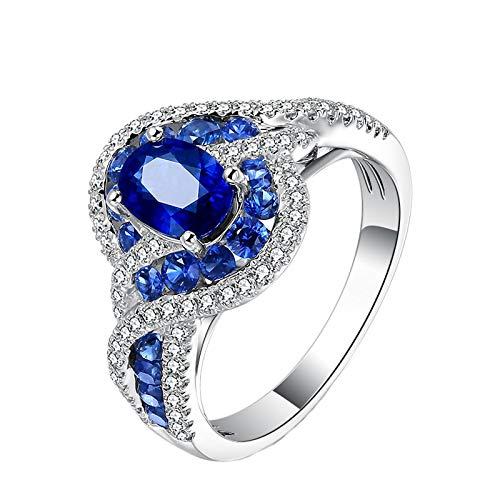 (Epinki 18K White Gold Ring, 1.4CT Oval Sapphire Diamond Ring Wedding Engagement Ring Anniversary Propose Size)