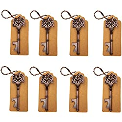 DerBlue 60 PCS Key Bottle Openers,Vintage Skeleton Key Bottle Opener,Skeleton Key Bottle Openers Wedding Favors Antique Rustic Decoration with Escort Tag Card (Bronze)