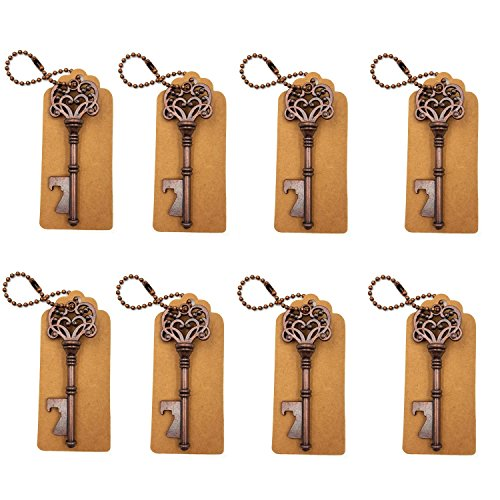 DerBlue 60 PCS Key Bottle OpenersVintage Skeleton Key Bottle OpenerSkeleton Key Bottle Openers Wedding Favors Antique Rustic Decoration with Escort Tag Card Bronze